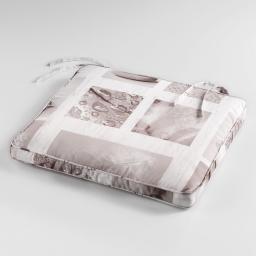 Coussin de chaise 43 x 37 x 5 cm polyester photoprint clarte Blanc