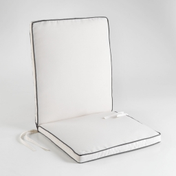 Coussin de fauteuil 90 x 42 x 5 cm polyester bicolore garden Naturel/Anthracite