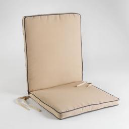 Coussin de fauteuil 90 x 42 x 5 cm polyester bicolore garden Taupe/Anthracite
