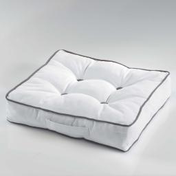 Coussin de sol 40 x 40 x 8 cm coton uni ideale Blanc