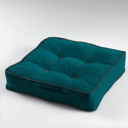 Coussin de sol 40 x 40 x 8 cm coton uni ideale Bleu