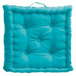 Coussin de sol 45 x 45 x 10 cm coton uni pacifique Turquoise