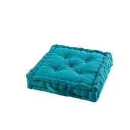 Coussin de sol 45 x 45 x 10 cm coton uni panama Bleu