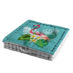 coussin de sol 60 x 60 x 10 cm coton imprime exotic life