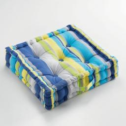Coussin de sol 60 x 60 x 10 cm coton imprime marina Bleu