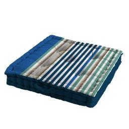 Coussin de sol 60 x 60 x 10 cm coton imprime matelot Bleu
