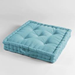 Coussin de sol 60 x 60 x 10 cm coton uni pacifique Turquoise