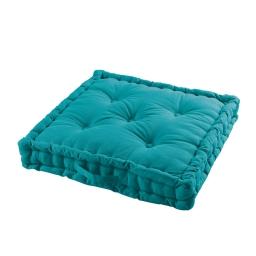 Coussin de sol 60 x 60 x 10 cm coton uni panama Bleu
