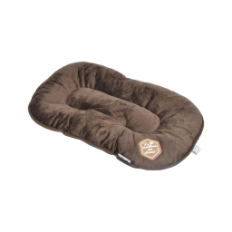 coussin flocon 61cm collection patchy chocolat/taupe