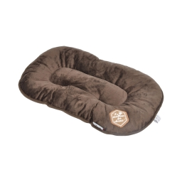 coussin flocon 69cm collection patchy chocolat/taupe