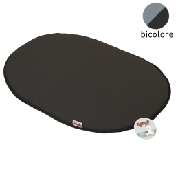 coussin galette 107cm bicolore noir/gris