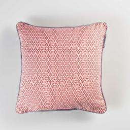 Coussin passepoil 40 x 40 cm coton imprime galactic Corail