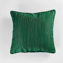 Coussin passepoil 40 x 40 cm polyester applique filiane Emeraude