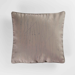 Coussin passepoil 40 x 40 cm polyester applique filiane Taupe