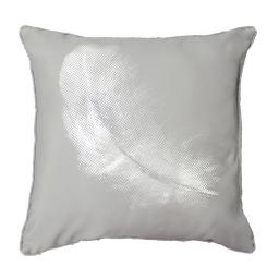 Coussin passepoil 40 x 40 cm polyester imprime argent plumette Perle