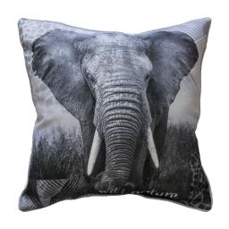 coussin passepoil 40 x 40 cm polyester imprime elephant des. place