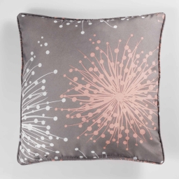 Coussin passepoil 40 x 40 cm polyester imprime energie Taupe