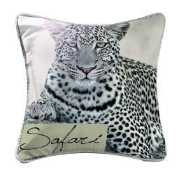 coussin passepoil 40 x 40 cm polyester imprime guepard des. place
