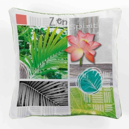 coussin passepoil 40 x 40 cm polyester imprime payotte
