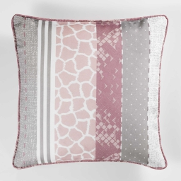 Coussin passepoil 40 x 40 cm polyester imprime serpentine Rose