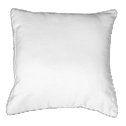 Coussin passepoil 40 x 40 cm polyester uni platine Blanc