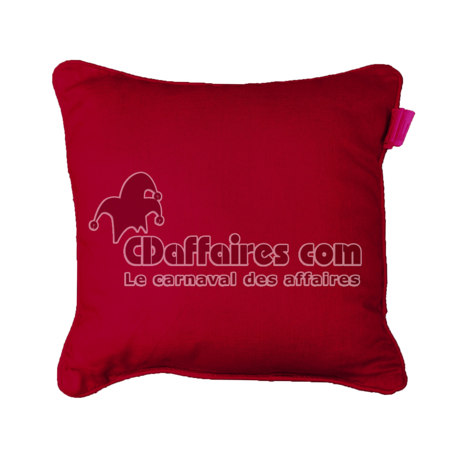 coussin passepoil 60 x 60 cm coton uni panama rouge cdaffaires. Black Bedroom Furniture Sets. Home Design Ideas