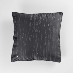 Coussin passepoil 60 x 60 cm polyester applique filiane Anthracite