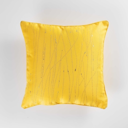 Coussin passepoil 60 x 60 cm polyester applique filiane Miel