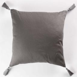 Coussin passepoil +pompons 40 x 40 cm coton uni popsys Anthracite