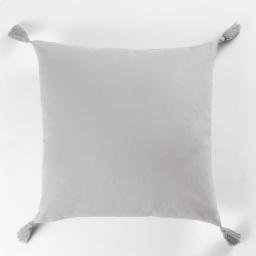 Coussin passepoil +pompons 40 x 40 cm coton uni popsys Gris