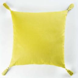 Coussin passepoil +pompons 40 x 40 cm coton uni popsys Vert