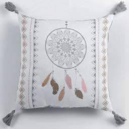 Coussin pompons 40 x 40 cm polyester imprime indila  des. place Blanc/Naturel
