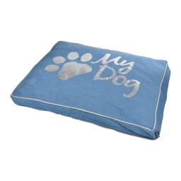 coussin rectangle 80*60*8cm collection my dog bleu dehoussable avec zip