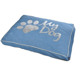 coussin rectangle 95*70*8cm collection my dog bleu dehoussable avec zip