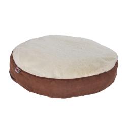 coussin rond ø60x8cm design polaire coloris chocolat/beige dehoussable avec zip