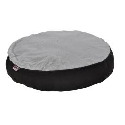 coussin rond ø60x8cm design polaire coloris noir/gris dehoussable avec zip