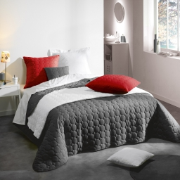 Couvre lit 2 pers. matelasse 220 x 240 cm microfibre unie candy Anthracite