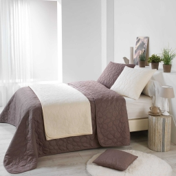 Couvre lit 2 pers. matelasse 220 x 240 cm microfibre unie dolina Taupe