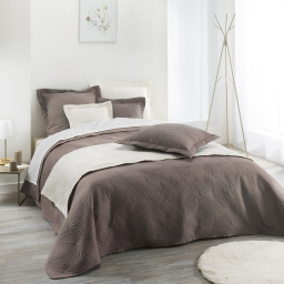 Couvre lit 2 pers. matelasse 220 x 240 cm microfibre unie florencia Taupe