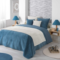 Couvre lit 2 pers. matelasse 220 x 240 cm velours uni bellanda Bleu