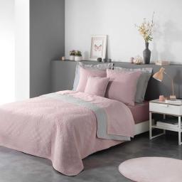 Couvre lit  220 x 240 cm en microfibre bicolore cottage Rose/gris