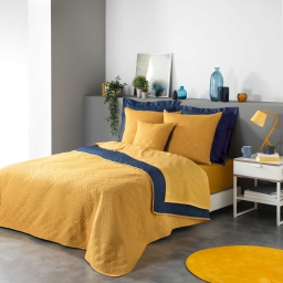 Couvre lit 220 x 240 cm microfibre bicolore cottage Jaune/bleu