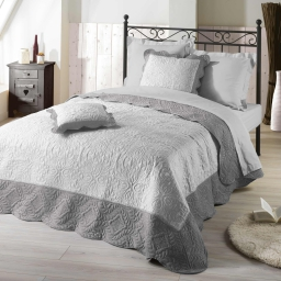 Couvre-lit 220x240 cm + 2 housses de coussin 60x60 cm microfibre bicolore Emma  Blanc/gris