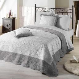 Couvre-lit 240x260 cm + 2 housses de coussin 60x60 cm microfibre bicolore Emma Blanc/gris
