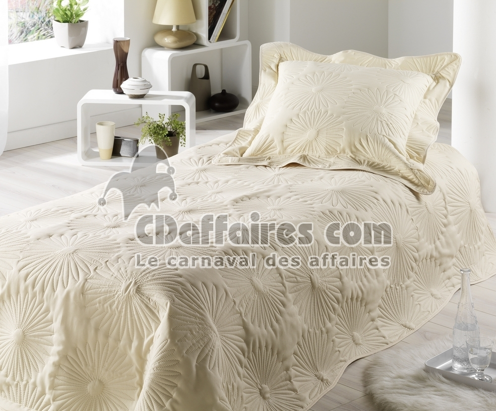 Couvre lit boutis 150x230 cm neptune champagne ebay - Couvre lit polyester ...