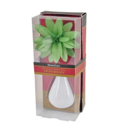 diffuseur en verre blanc et fleur 80ml - parfum fruits rouges