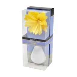 diffuseur en verre blanc et fleur 80ml - parfum lavande