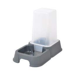distributeur d'eau + croquettes 1,5l pour chat coloris gris