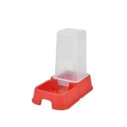 distributeur d'eau + croquettes 1,5l pour chat coloris rouge