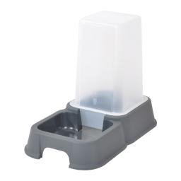 distributeur d'eau + croquettes 3,5l pour animaux coloris gris